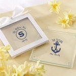Personalized Nautical Bridal Shower Glass Coasters