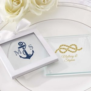 Nautical Theme Personalized Glass Coasters (Set of 12) image