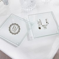 Personalized Bohemian Glass Coaster Favors (Set of 12)