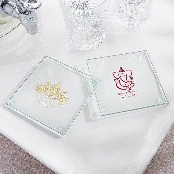 Personalized Indian Jewel Glass Coaster Favors Set Of 12