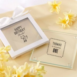 Personalized Woodland Birthday Glass Coaster Favors image