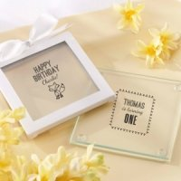 Personalized Woodland Birthday Glass Coaster Favors