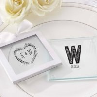 Rustic Theme Personalized Glass Coasters (Set of 12)