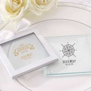 Personalized Travel and Adventure Glass Coaster Favors image