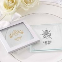 Personalized Travel and Adventure Glass Coaster Favors