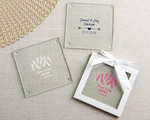 Personalized Winter Design Glass Coasters (Set of 12) image