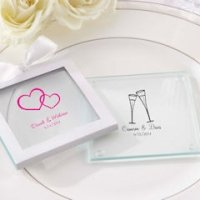Personalized Glass Wedding Coasters (Set of 12)
