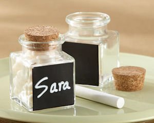 'Chalkboard' Glass and Cork Favor Jars-Set of 12 image