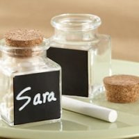 'Chalkboard' Glass and Cork Favor Jars-Set of 12