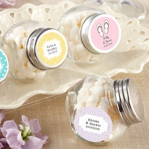 Mini Glass Personalized Wedding Favor Jars (Set of 12) image