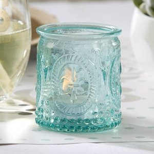 Vintage Inspired Blue Glass Tealight Holder (Set of 4) image