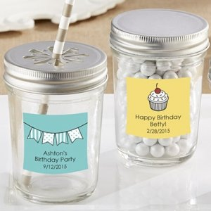 Personalized Glass Mason Jar Birthday Party Favors image