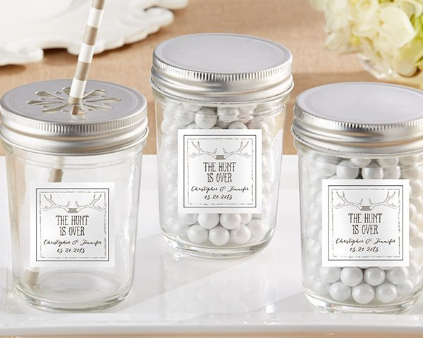 Mason Jar Wedding Gifts: Personalized 'The Hunt Is Over' Mason Jar Wedding Favors