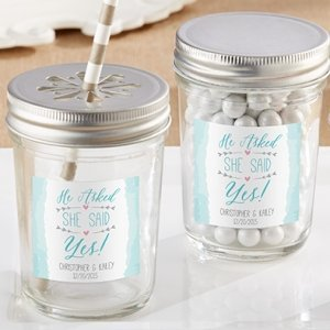 Personalized 'He Asked She Said Yes' Mason Jar (Set of 12) image