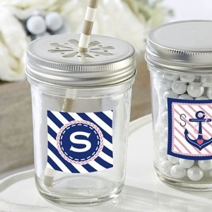 Personalized Nautical Bridal Shower Mason Jars (Set of 12) image
