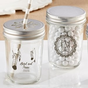 Personalized Bohemian Printed Mason Jar (Set of 12) image