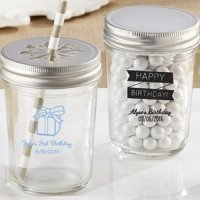 Personalized Birthday Theme Glass Mason Jars (Set of 12)