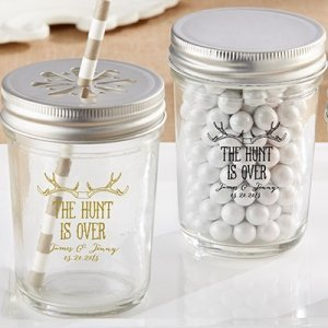 Personalized 'The Hunt is Over' Printed Mason Jars image