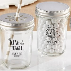 King of the Jungle Mason Jar Birthday Favors (Set of 12) image