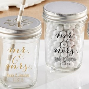 Classic Mr. & Mrs. Personalized Printed Mason Jar image