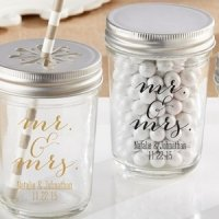 Classic Mr. & Mrs. Personalized Printed Mason Jar