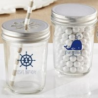 Personalized Nautical Birthday Theme Mason Jars (Set of 12)