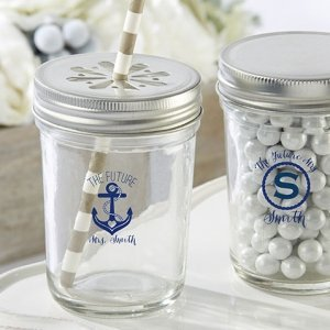 Personalized Printed Nautical Bridal Shower Mason Jars image