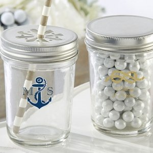 Personalized Nautical Printed Mason Jar Favors (Set of 12) image