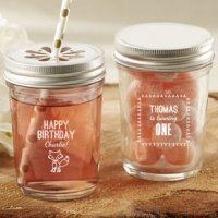 Personalized Woodland Birthday Mason Jars (Set of 12)