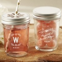 Personalized Rustic Bridal Shower Mason Jars (Set of 12)