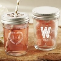 Personalized Rustic Wedding Printed Mason Jars (Set of 12)