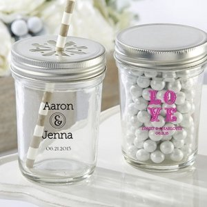 Personalized Printed Glass Mason Jars with Lids (Set of 12) image