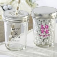 Personalized Printed Glass Mason Jars with Lids (Set of 12)