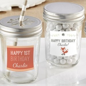 Personalized Woodland Birthday Mason Jar Favors (Set of 12) image