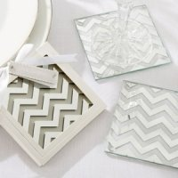 Shimmer and Shine Silver Chevron Coaster Favors