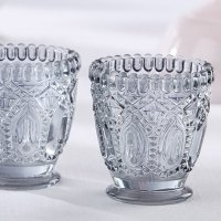 Smoky Gray Cut Glass Votive Holder (Set of 2)