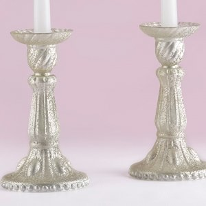 Light Champagne Frosted Mercury Glass Candlesticks image