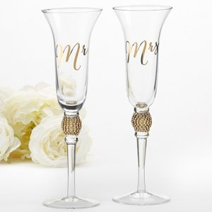 Gold Glitter and Rhinestone Mr & Mrs Toasting Flutes image