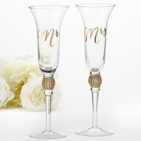 Gold Glitter and Rhinestone Mr & Mrs Toasting Flutes