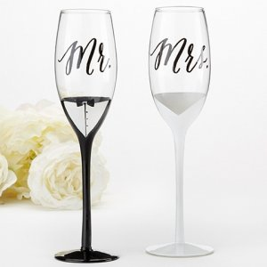 Tuxedo and Wedding Gown Mr & Mrs Toasting Flutes image