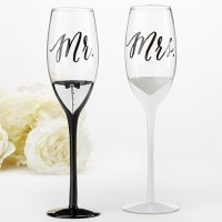 Tuxedo and Wedding Gown Mr & Mrs Toasting Flutes