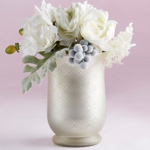 Light Champagne Frosted and Etched Pattern Glass Vase image