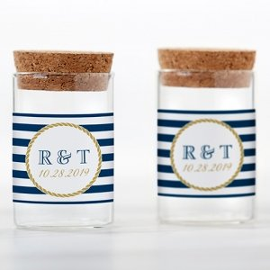 Personalized Nautical Wedding Glass Tube Jar (Set of 12) image