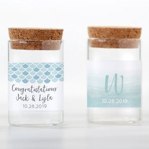 Seaside Escape Personalized Glass Tube Jar Favor (Set of 12) image