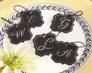 Elite Black Laser-Cut Monogram Tags (Set of 24) image