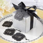 Silver Letter Favor Boxes with Optional Tag (Set of 24)