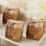 Hearts in Love Rustic Wedding Favor Boxes (Set of 24)