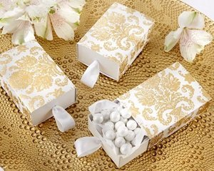 Gold Damask Sliding Party Favor Boxes (Set of 24) image