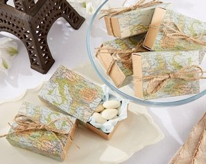 Map Travel Themed Sliding Favor Boxes (Set of 24) image