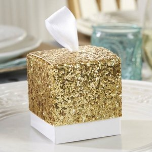 All That Glitters Gold Square Favor Boxes (Set of 24) image